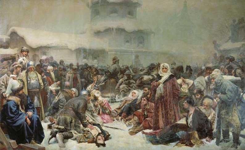 Клавдиий Лебедев, «Марфа-посадница. Уничтожение новгородского веча» (1889).
